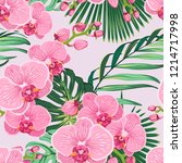 seamless floral pattern with...   Shutterstock .eps vector #1214717998