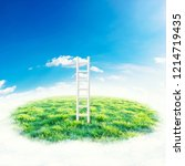 green field under blue sky with ... | Shutterstock . vector #1214719435