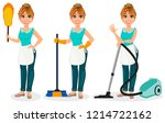 happy housewife. cheerful... | Shutterstock .eps vector #1214722162