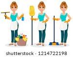 happy housewife. cheerful... | Shutterstock .eps vector #1214722198