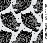 wolf traditional tattoo pattern ... | Shutterstock .eps vector #1214744785