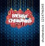 2019 merry christmas seasonal... | Shutterstock .eps vector #1214746345