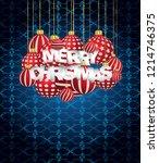 2019 merry christmas seasonal... | Shutterstock .eps vector #1214746375