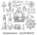 set pirate adventure. anchor ... | Shutterstock .eps vector #1214748142