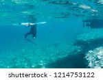 man with spear gun diving on... | Shutterstock . vector #1214753122