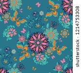 folk floral seamless pattern.... | Shutterstock .eps vector #1214753308