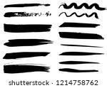 grunge dry paint brush strokes  ...   Shutterstock .eps vector #1214758762