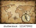 aged brass antique nautical... | Shutterstock . vector #121475902