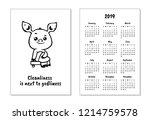 "pocket calendar 2019 with pig. ""... | Shutterstock .eps vector #1214759578"