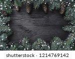 christmas card. black wood... | Shutterstock . vector #1214769142