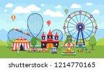 cartoon amusement park with... | Shutterstock . vector #1214770165