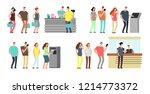 queues of people set. man and... | Shutterstock . vector #1214773372