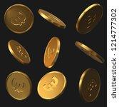 set of golden euro coins.... | Shutterstock .eps vector #1214777302