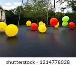 balloons of colors  red  yellow ...   Shutterstock . vector #1214778028