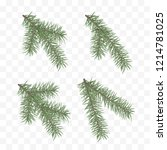 set of realistic fir branches.... | Shutterstock .eps vector #1214781025