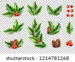 holly leaves with berries  pine ... | Shutterstock .eps vector #1214781268