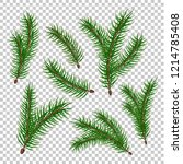 spruce tree branches set.... | Shutterstock .eps vector #1214785408