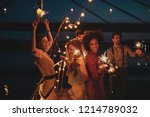 group of friends having fun at... | Shutterstock . vector #1214789032