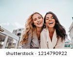 inspired laughing ladies posing ... | Shutterstock . vector #1214790922