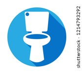 toilet icon with long shadow.... | Shutterstock .eps vector #1214793292