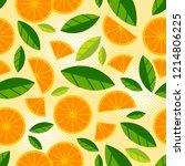 fruit seamless pattern. orange... | Shutterstock .eps vector #1214806225