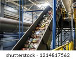 moving conveyor transporter on... | Shutterstock . vector #1214817562