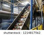 moving conveyor transporter on... | Shutterstock . vector #1214817562