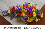 shot of flower and candle used... | Shutterstock . vector #1214826982