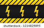 high voltage warning plate  old ... | Shutterstock .eps vector #1214829895