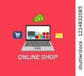 flat design banner of buy... | Shutterstock .eps vector #1214832085