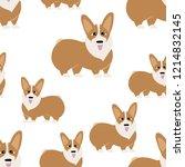 corgi dog seamless pattern...   Shutterstock .eps vector #1214832145