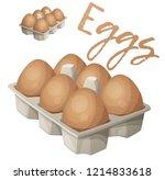 eggs in carton illustration.... | Shutterstock .eps vector #1214833618