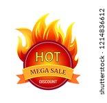 hot mega sale discount badge... | Shutterstock .eps vector #1214836612