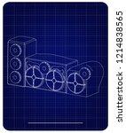 3d model of speaker system on a ... | Shutterstock .eps vector #1214838565