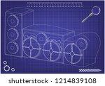 3d model of speaker system on a ... | Shutterstock .eps vector #1214839108