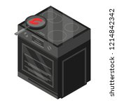 black stove icon. isometric of... | Shutterstock .eps vector #1214842342