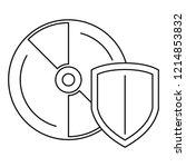 secured cd disk icon. outline... | Shutterstock .eps vector #1214853832