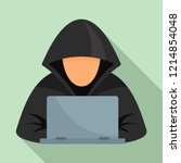 hacker at laptop icon. flat... | Shutterstock .eps vector #1214854048