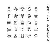 outline holiday christmas icons   Shutterstock .eps vector #1214868358