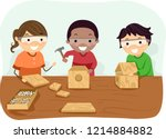illustration of stickman kids... | Shutterstock .eps vector #1214884882