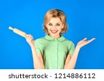 happy housewife with rolling... | Shutterstock . vector #1214886112