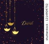 premium golden hanging diya... | Shutterstock .eps vector #1214909752