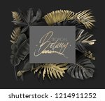 vector frame with tropical... | Shutterstock .eps vector #1214911252