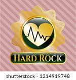 shiny badge with heart with... | Shutterstock .eps vector #1214919748