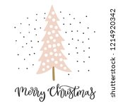 christmas card with calligraphy ... | Shutterstock .eps vector #1214920342