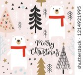 christmas seamless pattern with ... | Shutterstock .eps vector #1214921995