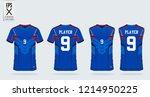blue t shirt sport design... | Shutterstock .eps vector #1214950225