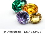 Natural Sapphire gemstone, Jewel or gems on black shine color, Collection of many different natural gemstones amethyst,
