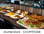 mixed western and fusion food... | Shutterstock . vector #1214955268