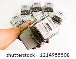 electric meter power tool... | Shutterstock . vector #1214955508